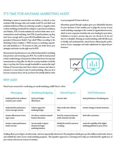 email marketing audit template