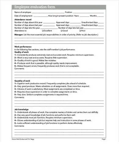 employee evaluation form sample