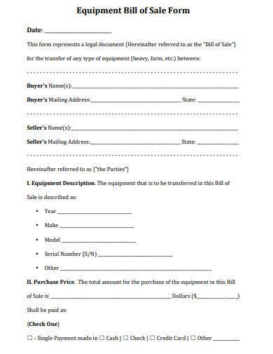 equipment bill of sale form sample