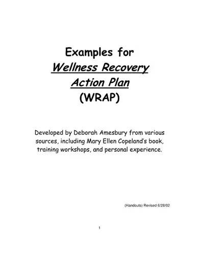 example for wellness recovery action plan