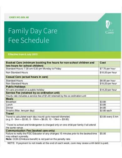family daycare fee schedule