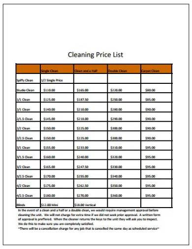 formal cleaning price list