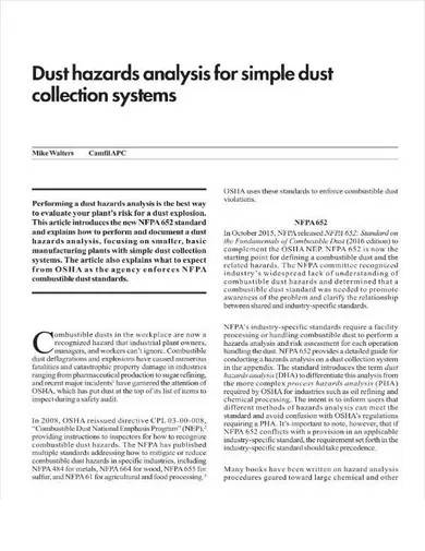 formal dust hazard analysis