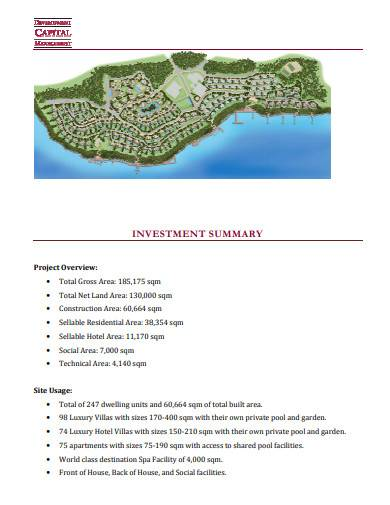 formal hotel investment proposal
