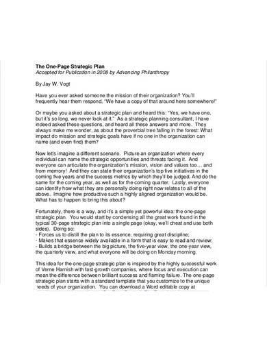 formal one page strategic plan