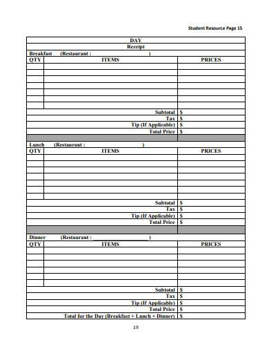 formal vacation budget template