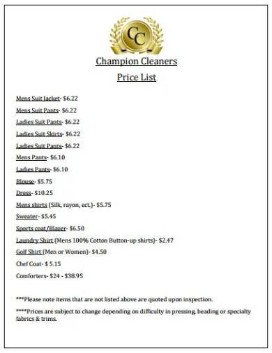 format of cleaning price list