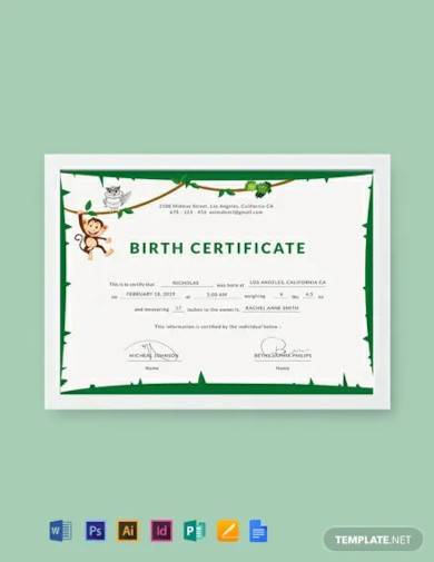 free animal birth certificate template