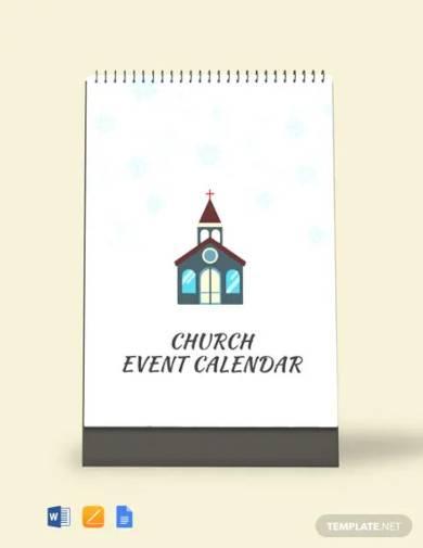 free church event desk calendar template