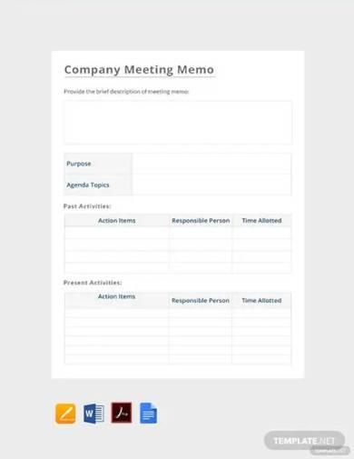 free company meeting memo template