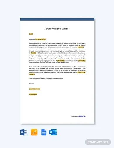 free debt hardship letter