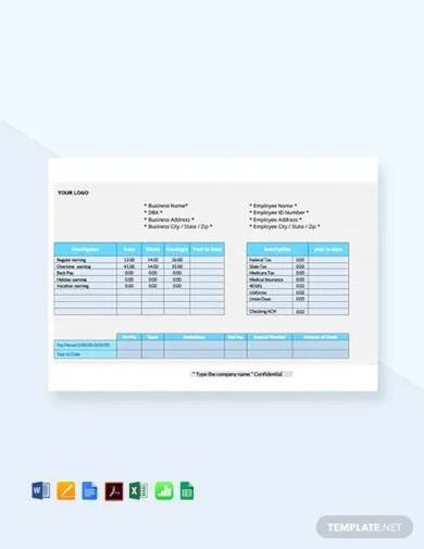 free employee pay stub template