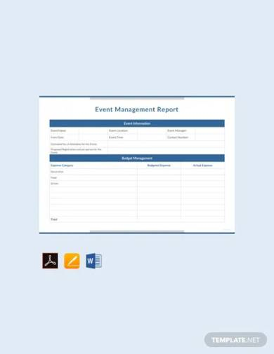 free event management report template