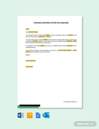 free personal reference letter for landlord