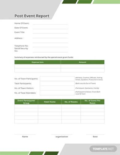 free post event report template