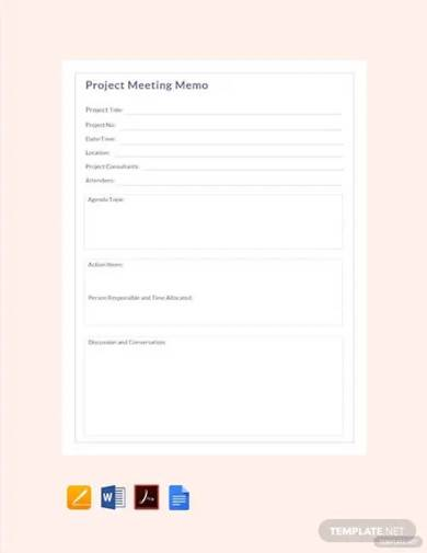 free project meeting memo template