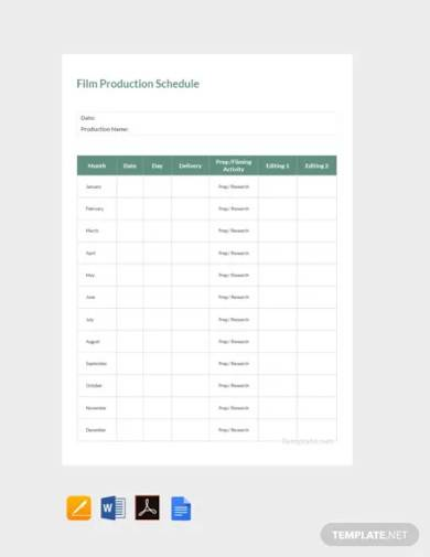 free sample film production schedule template