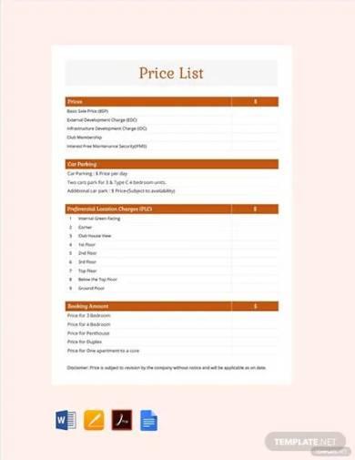 free sample price list template