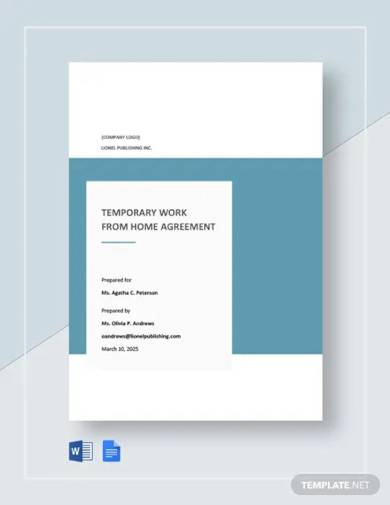 free temporary work from home agreement template