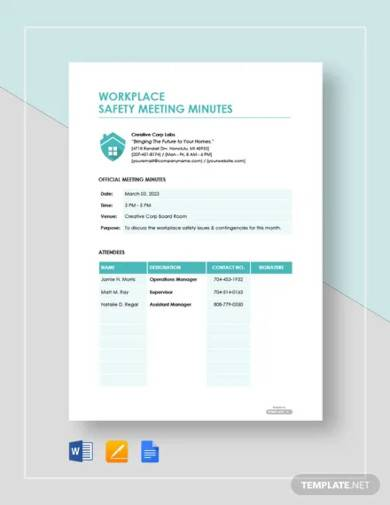free workplace safety meeting minutes template