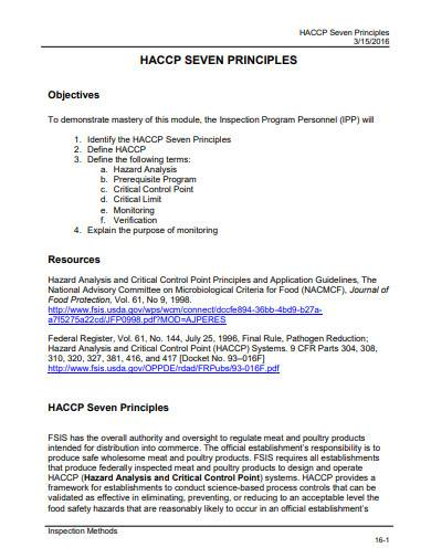 haccp seven principles template