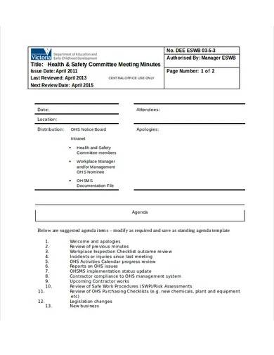 health and safety committee meeting minutes