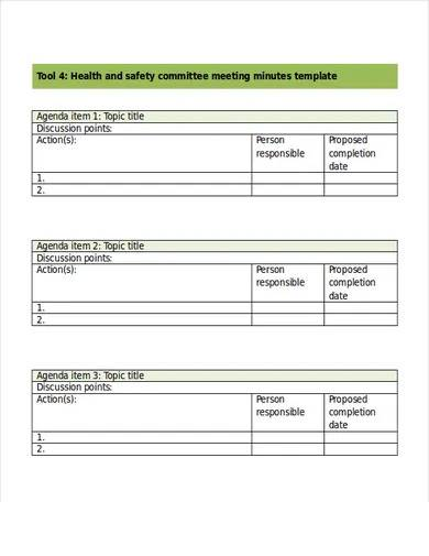 health safety committee meeting minutes template