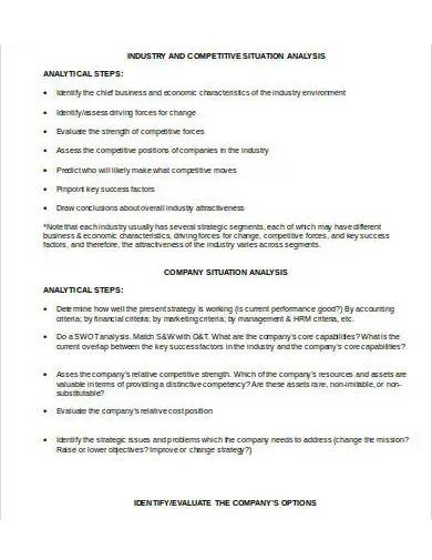 industry situation analysis template