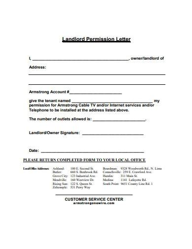 landlord permission letter template