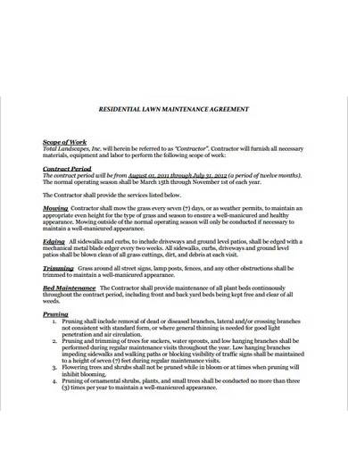 lawn service contract format