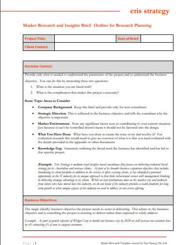 market research brief template