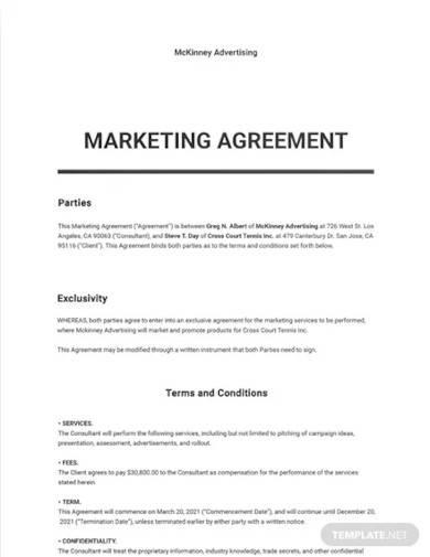 marketing agreement template