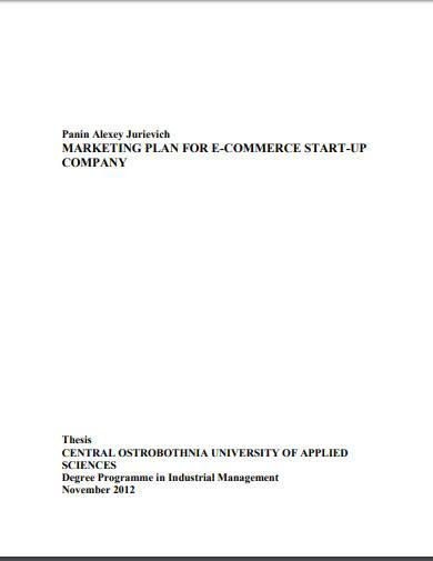 marketing plan for e commerce start up company