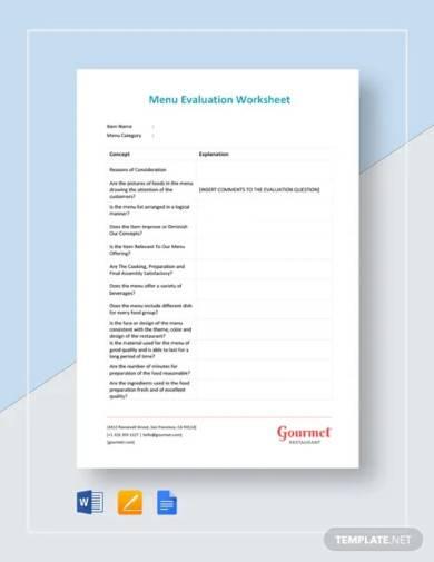 menu evaluation worksheet template