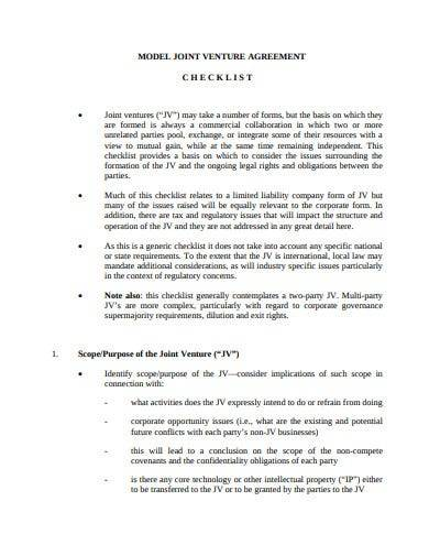 model joint venture agreement