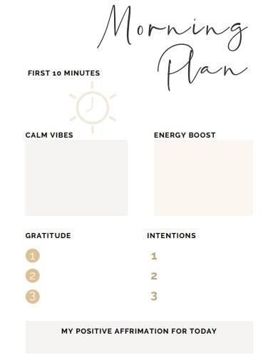 morning routine plan template