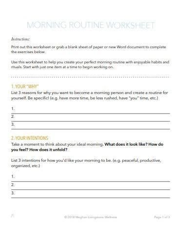 morning routine planner worksheet
