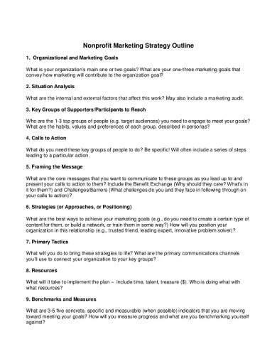 nonprofit marketing strategy outline