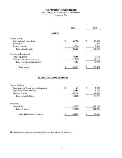 nonprofit partnership financial statement