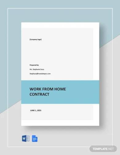 part time work from home contract template
