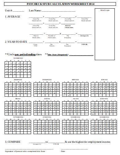 paycheck stub calculation worksheet