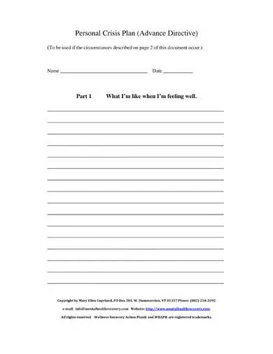 personal criss plan template