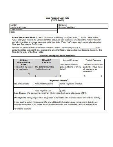 personal loan note template
