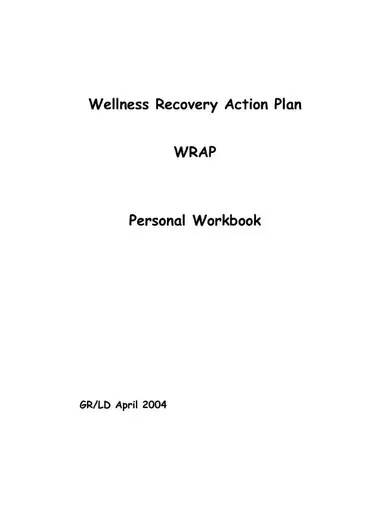 personal wellness recovery action plan