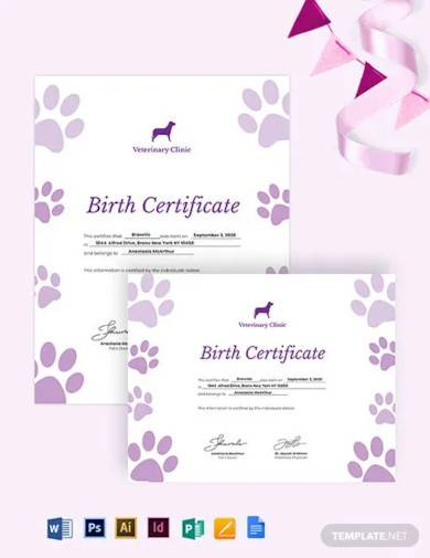 Free 10 Pet Birth Certificate Samples In Ms Word Psd Ai Publisher Pages Indesign Google Docs Pdf
