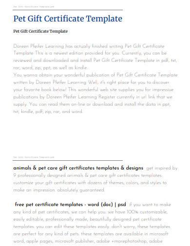 pet gift certificate template