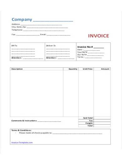 printable bakery invoice