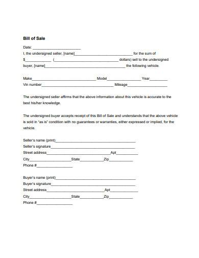 printable bill of sale template