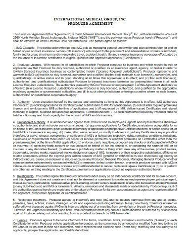 producer agreement template