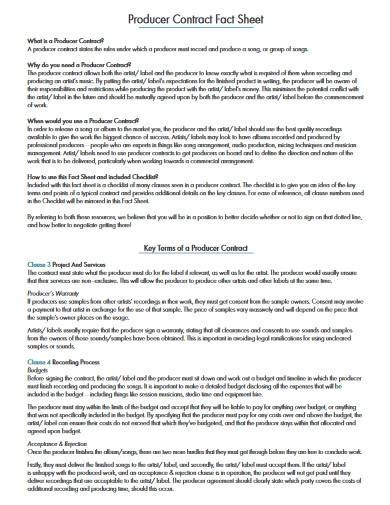 producer contract overview